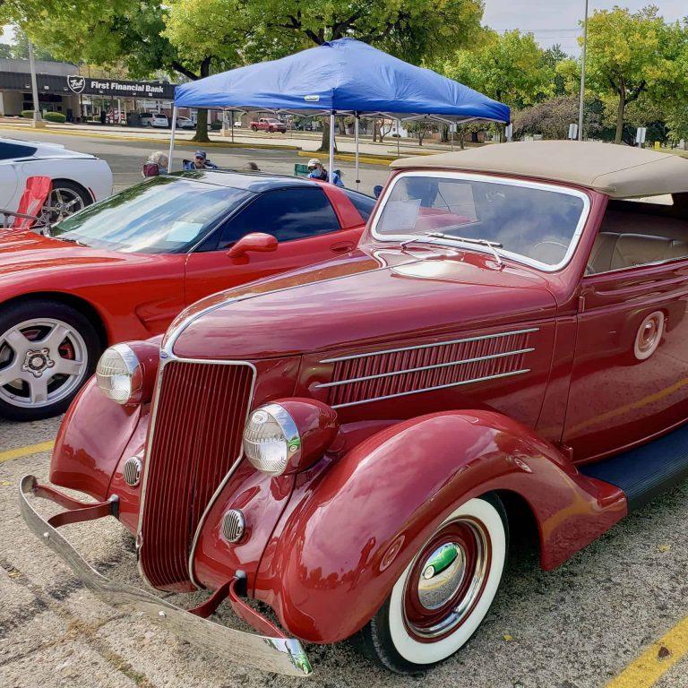 red antique classic car